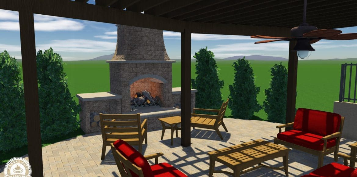 3D rendering of a hardscaping project in Parkville by Kansas City Hardscapes