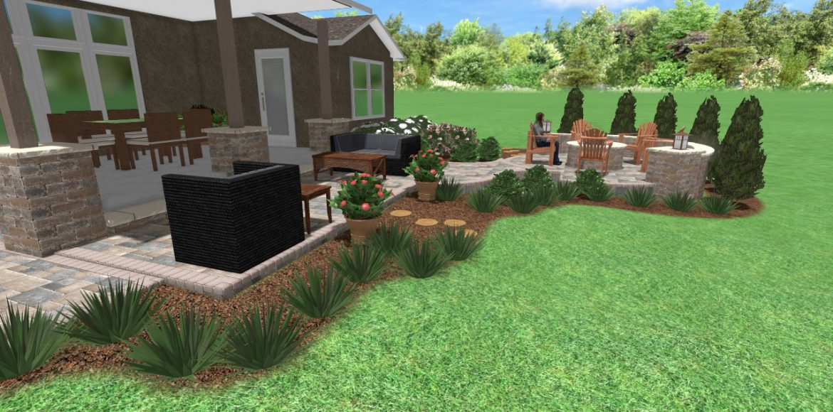 3D rendering of a hardscaping project in Overland Park by Kansas City Hardscapes