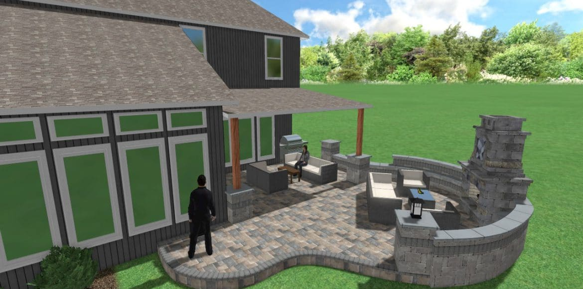 3D rendering of a hardscaping project in Shawnee by Kansas City Hardscapes